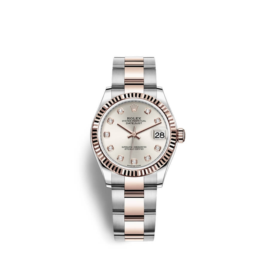 Rolex Datejust 31 Oystersteel 18 ct Everose gold M278271-0015 Silver set with diamonds Dial