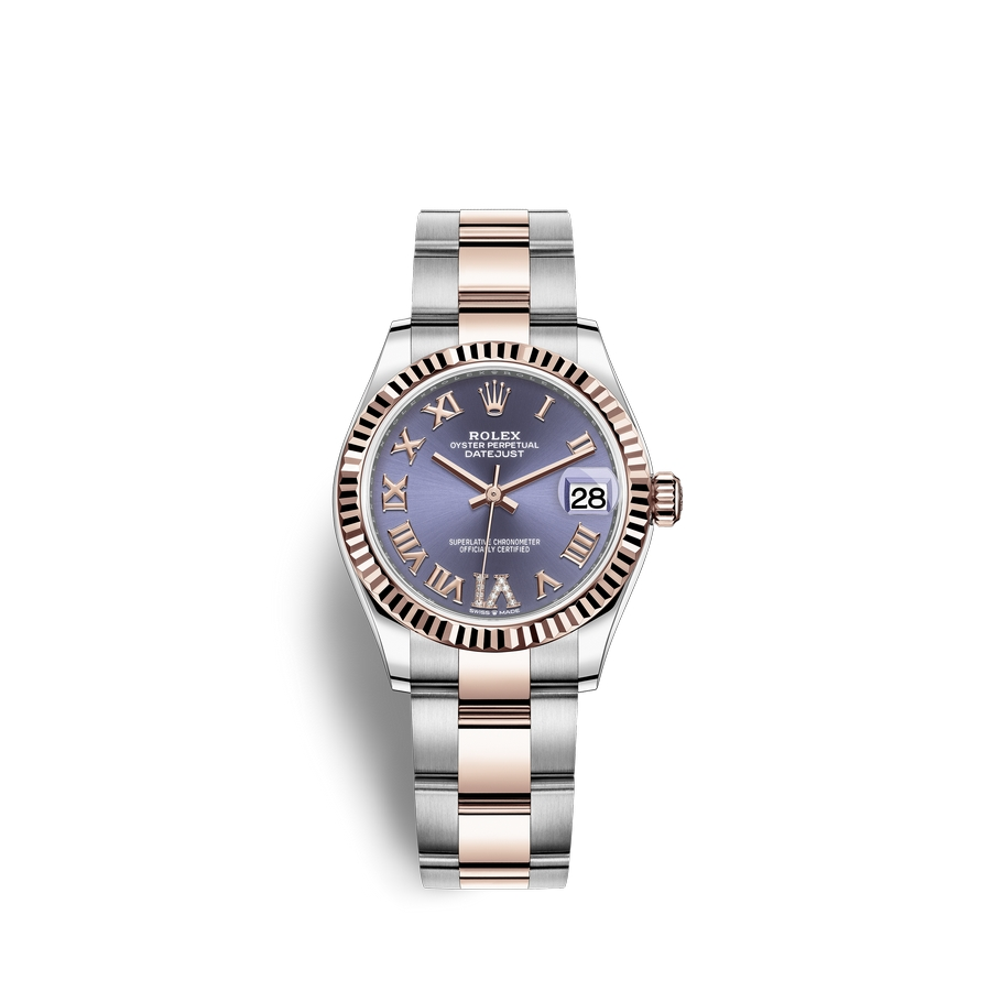 Rolex Datejust 31 Oystersteel 18 ct Everose gold M278271-0019 Aubergine set with diamonds Dial