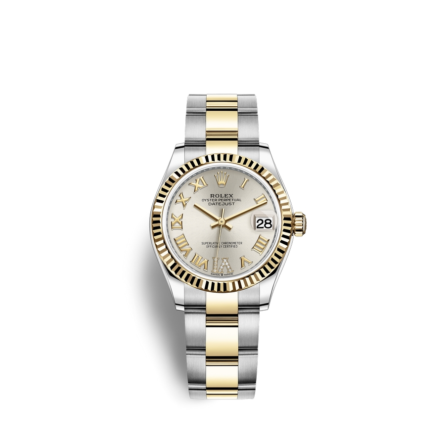 Rolex Datejust 31 Oystersteel 18 ct yellow gold M278273-0003 Silver set with diamonds Dial