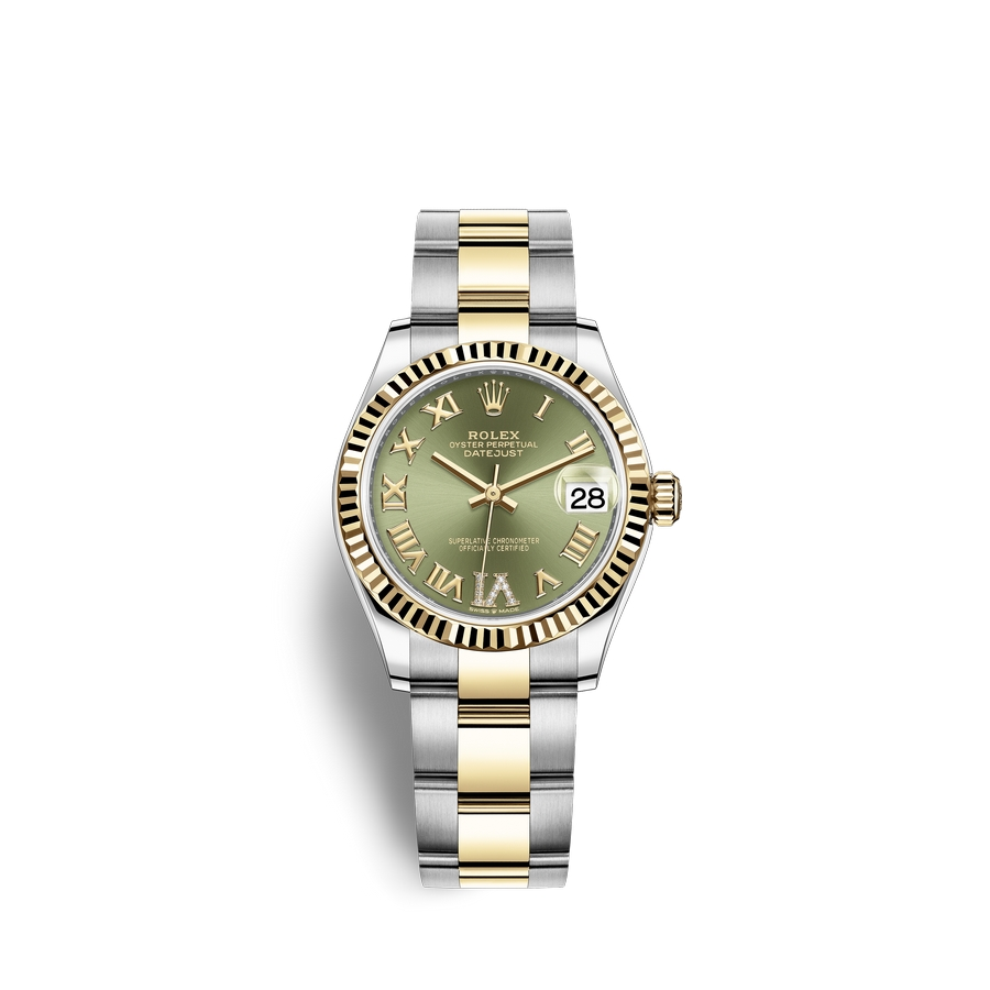 Rolex Datejust 31 Oystersteel 18 ct yellow gold M278273-0015 Olive green set with diamonds Dial