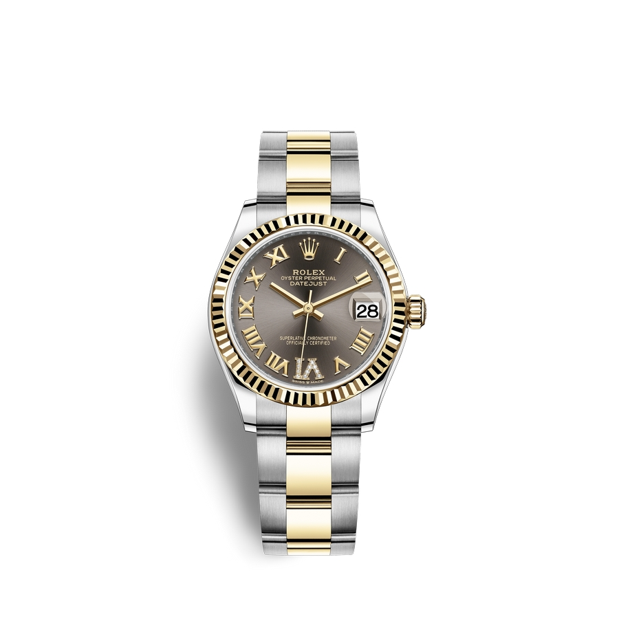 Rolex Datejust 31 Oystersteel 18 ct yellow gold M278273-0017 Dark grey set with diamonds Dial