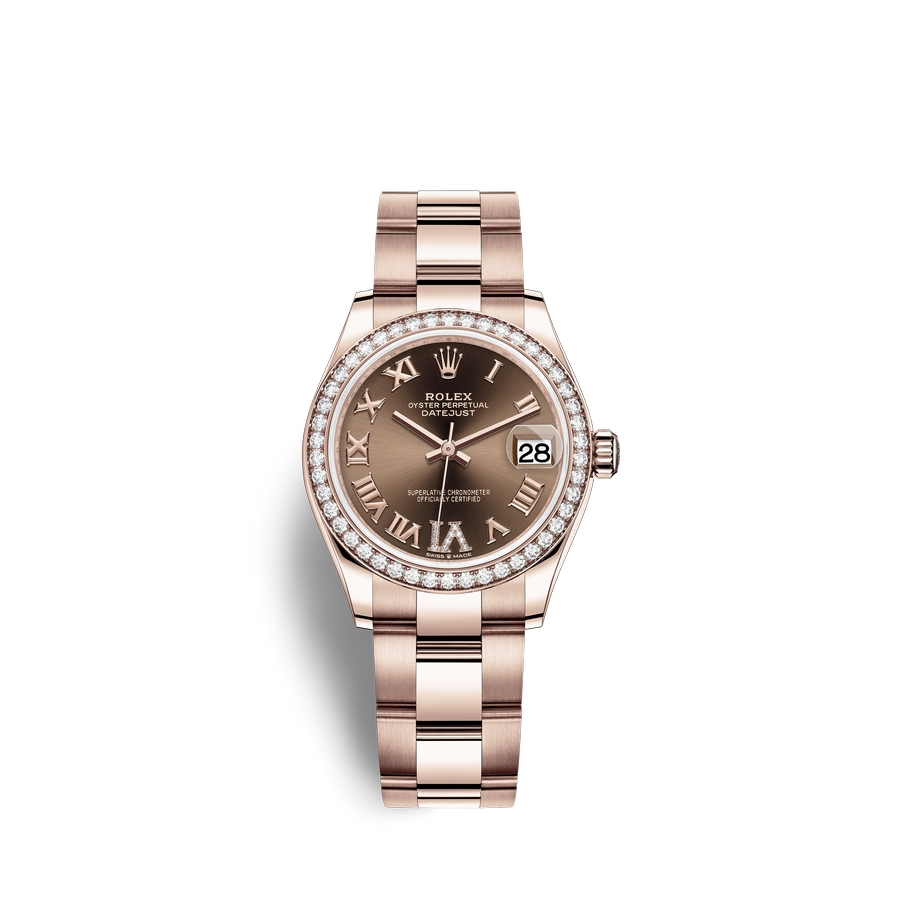 Rolex Datejust 31 18 ct Everose gold M278285RBR-0015 Chocolate set with diamonds Dial