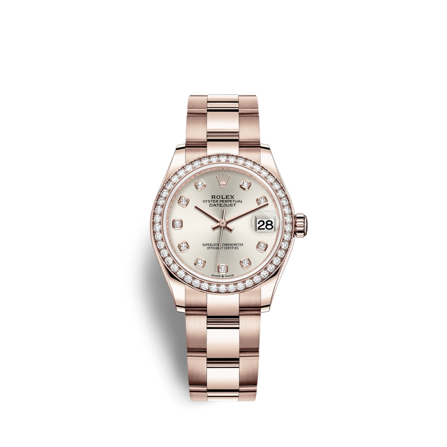 Rolex Datejust 31 18 ct Everose gold M278285RBR-0019 Silver set with diamonds Dial
