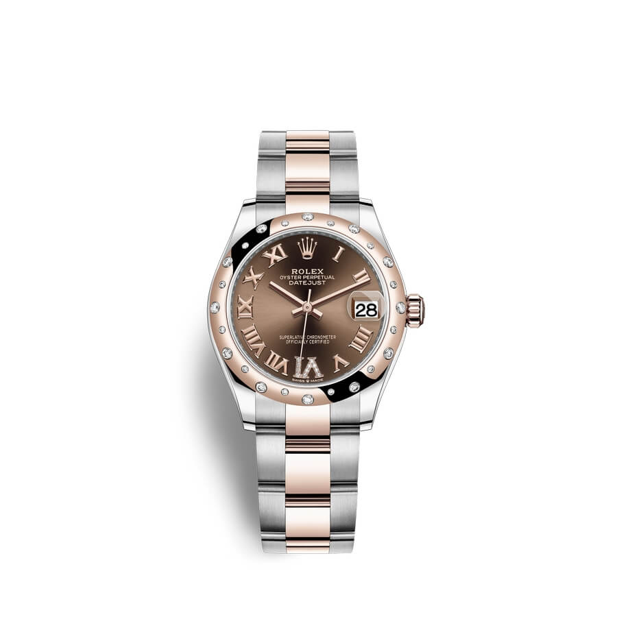 Rolex Datejust 31 Oystersteel 18 ct Everose gold M278341RBR-0003 Chocolate set with diamonds Dial