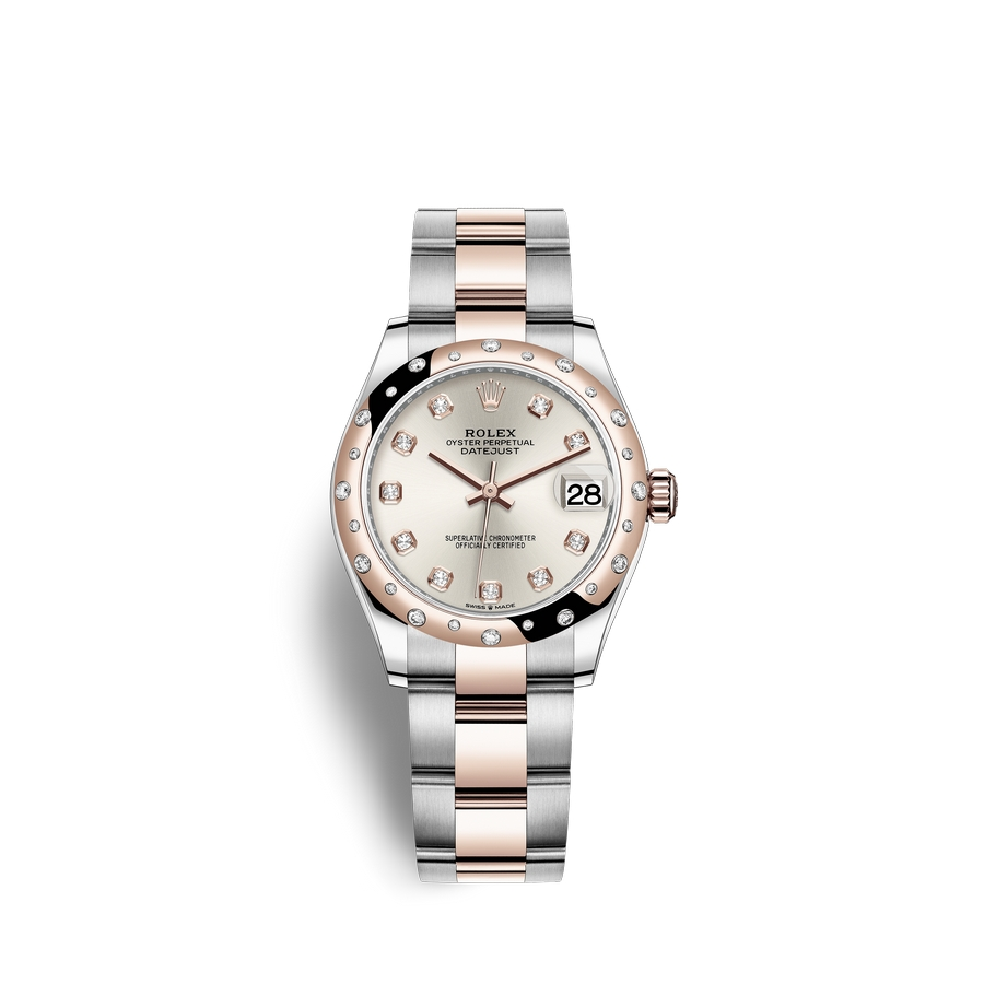 Rolex Datejust 31 Oystersteel 18 ct Everose gold M278341RBR-0015 Silver set with diamonds Dial