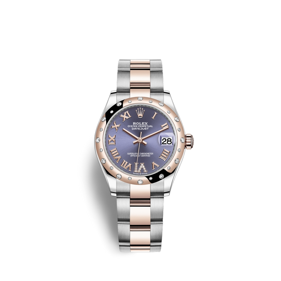 Rolex Datejust 31 Oystersteel 18 ct Everose gold M278341RBR-0019 Aubergine set with diamonds Dial