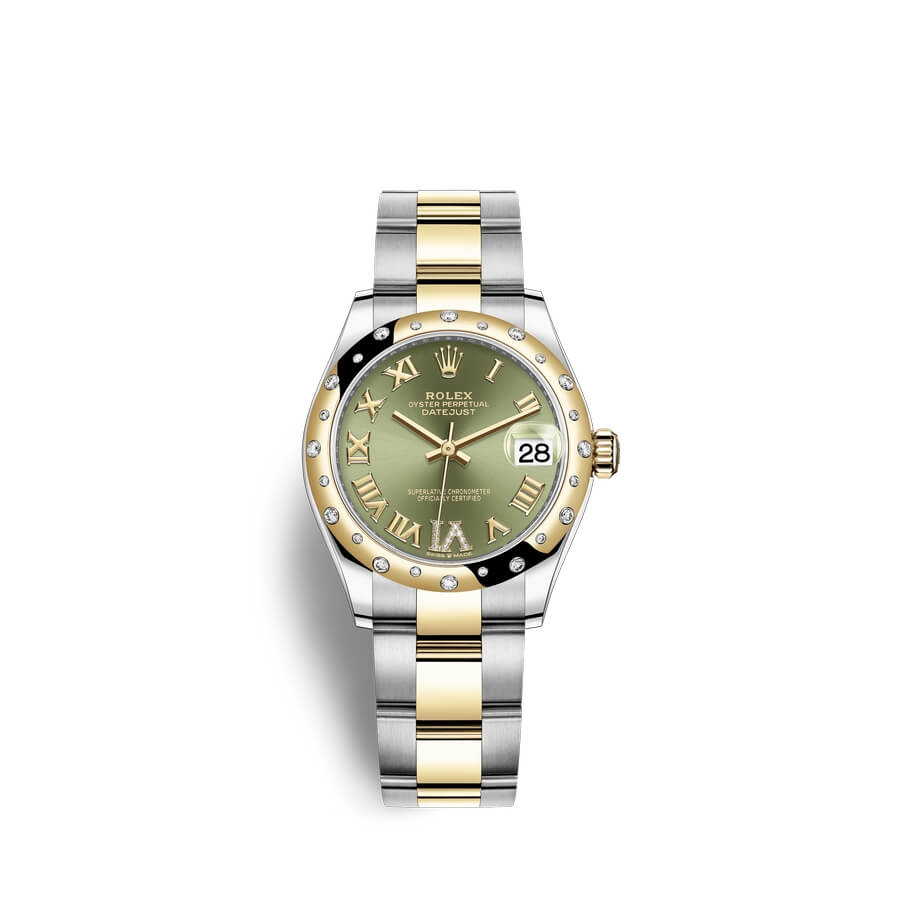 Rolex Datejust 31 Oystersteel 18 ct yellow gold M278343RBR-0015 Olive green set with diamonds Dial