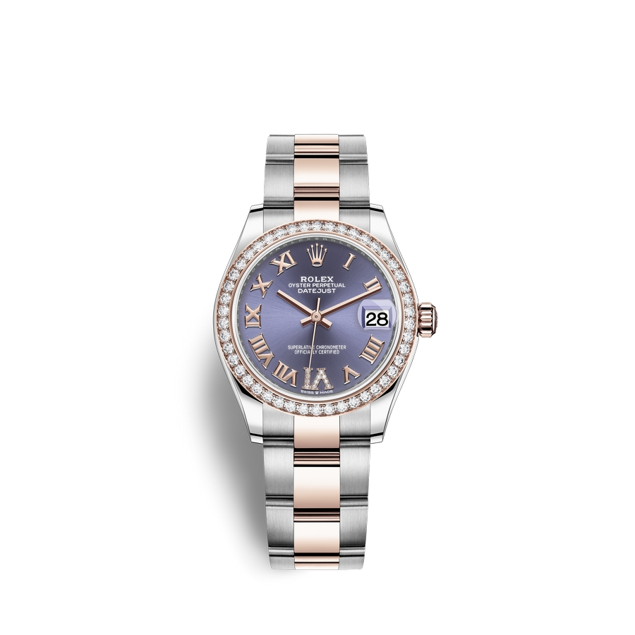 Rolex Datejust 31 Oystersteel 18 ct Everose gold M278381RBR-0019 Aubergine set with diamonds Dial