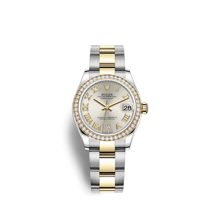 Rolex Datejust 31 Oystersteel 18 ct yellow gold M278383RBR-0003 Silver set with diamonds Dial