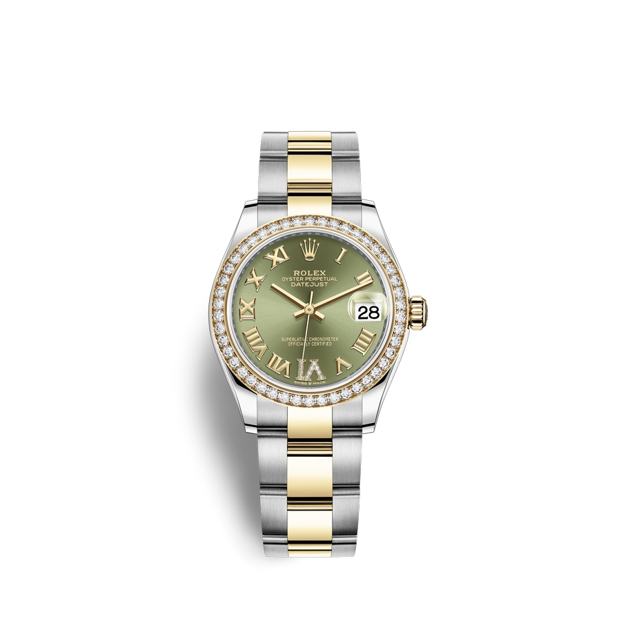 Rolex Datejust 31 Oystersteel 18 ct yellow gold M278383RBR-0015 Olive green set with diamonds Dial