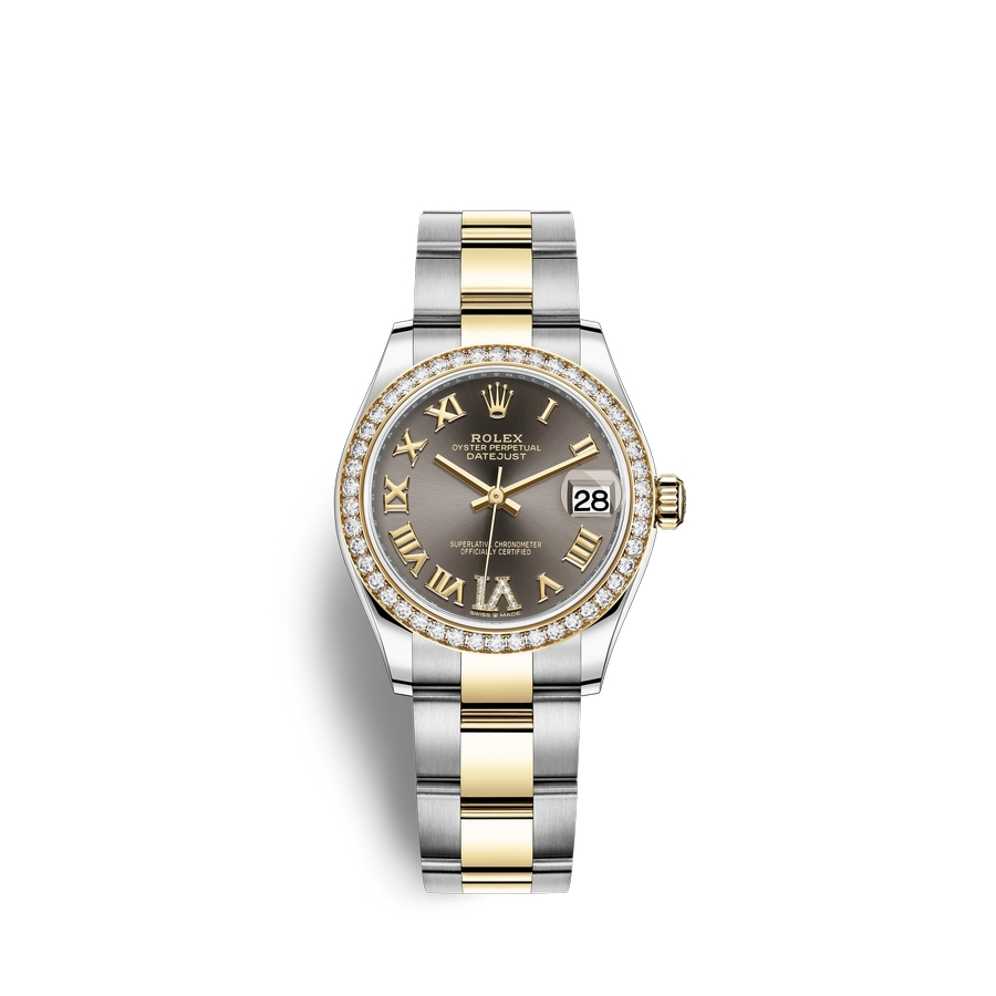 Rolex Datejust 31 Oystersteel 18 ct yellow gold M278383RBR-0017 Dark grey set with diamonds Dial