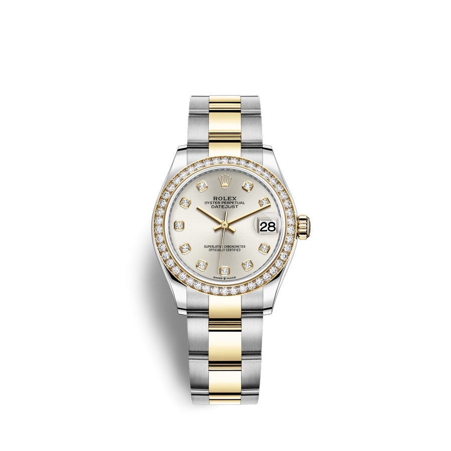 Rolex Datejust 31 Oystersteel 18 ct yellow gold M278383RBR-0019 Silver set with diamonds Dial