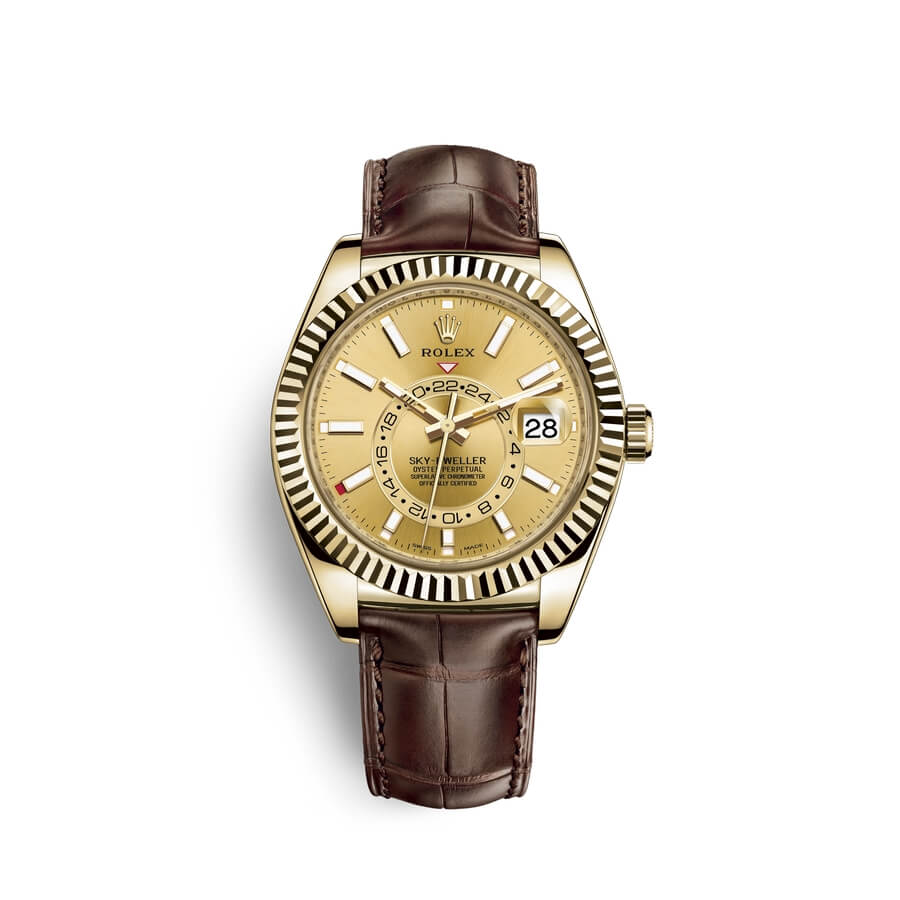 Rolex Sky-Dweller 18 ct yellow gold M326138-0006 Champagne-colour Dial