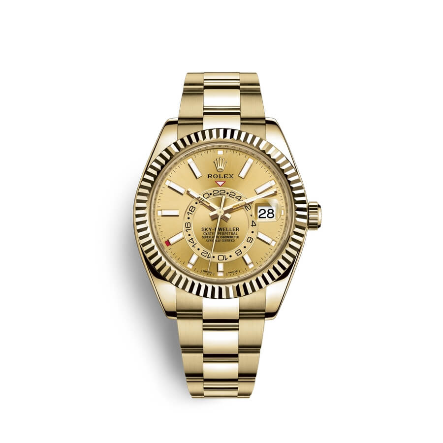 Rolex Sky-Dweller 18 ct yellow gold M326938-0003 Champagne-colour Dial