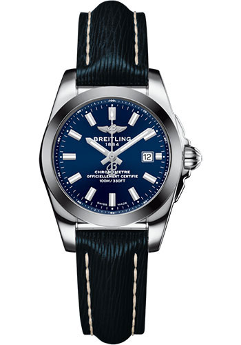 Breitling Galactic 29 Blue Dial Blue Leather Strap Women's