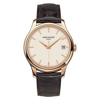Patek Philippe Calatrava Mechanical Ivory Dial Leather Men's Wat