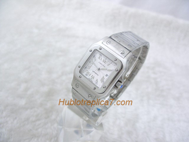 Cartier Men's White Dial & Stainless Steel Bracelet W20098
