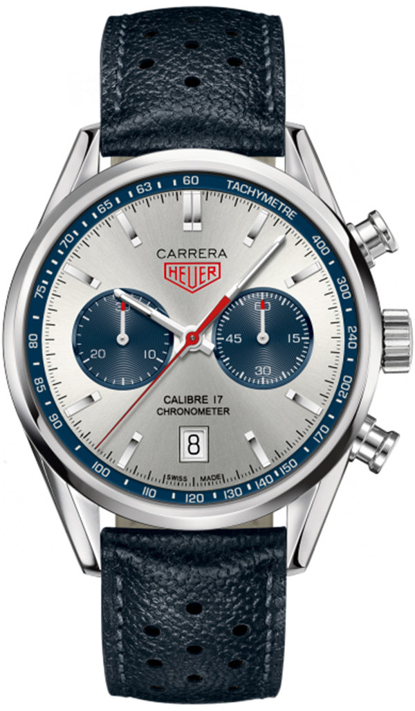 Tag Heuer Carrera Silver Dial Chronograph Blue Leather CV5111FC6335 Replica
