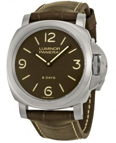 Panerai Luminor Base 8 Days Acciaio Mechanical Brown Dial Men's