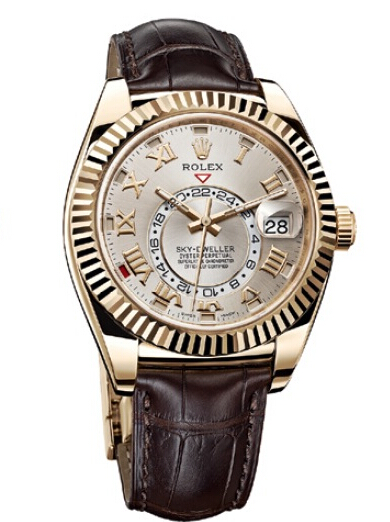 Rolex Sky-Dweller Yellow Gold Silver Sunray Dial 326138
