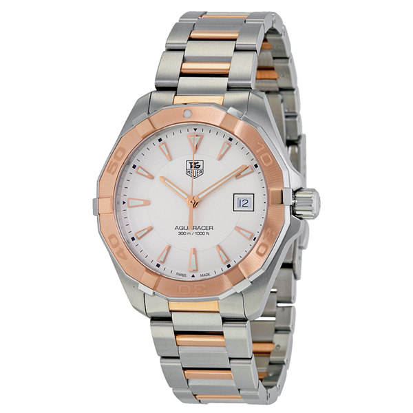 Tag Heuer Aquaracer Silver Dial Steel and 18kt Rose Gold WAY1150.BD0911 Replica