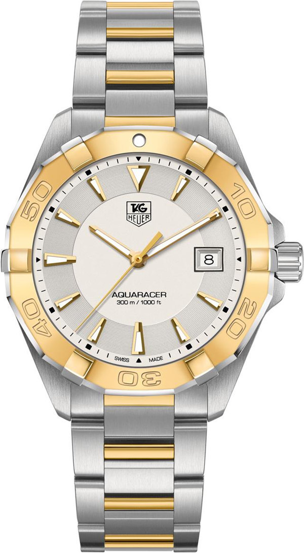 Tag Heuer Aquaracer Silver Dial with 18kt Yellow Gold WAY1151.BD0912 Replica