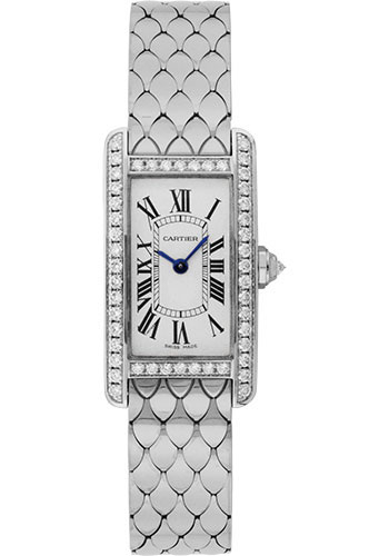 Cartier Tank Americaine Silver Dial White Gold Bracelet Ladies WB710009 replica watch