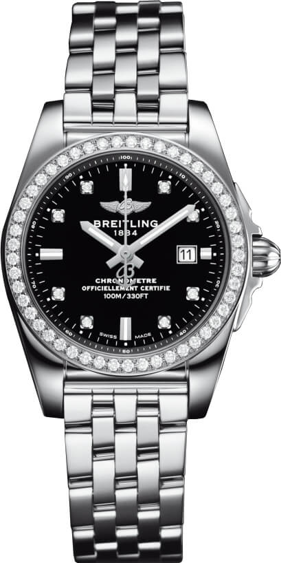 Breitling Galactic Stainless Steel Black Dial Ladies A7234853/BE50/791A Watch