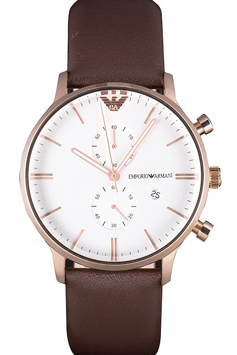 Emporio Armani Classic White Dial Brown Leather watch replica