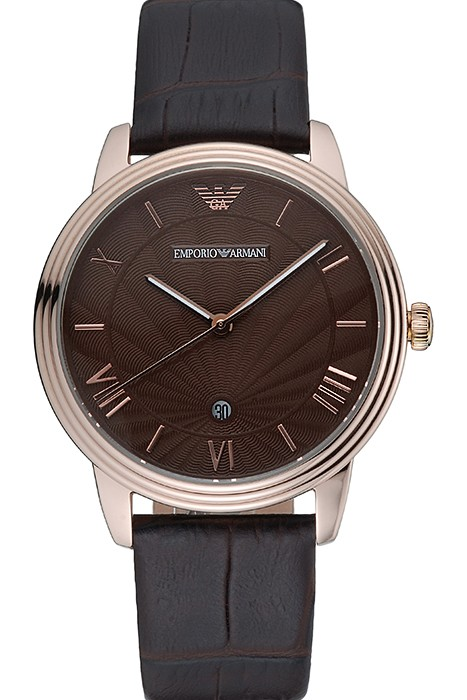 Emporio Armani Classic Brown Dial Gold Case Brown Leather Bracel