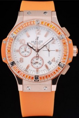 Hublot Big Bang Tutti Frutti Orange Strap Gold Face (hb21) - Click Image to Close