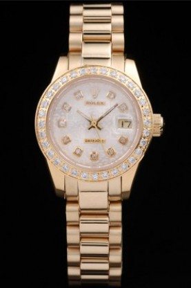 Rolex Datejust 18k Yellow Gold Plated Stainless Steel Diamond Pl
