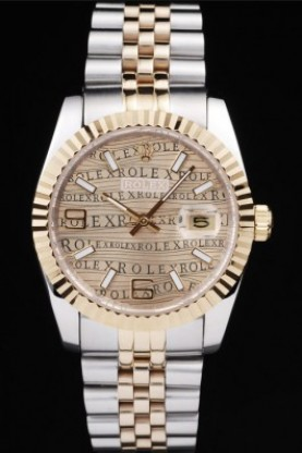 Rolex DateJust Two Tone Stainless Steel 18k Gold PlatedGold Dial