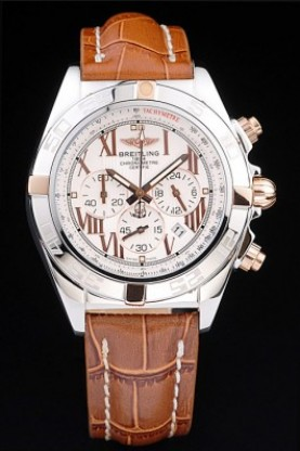 Breitling Chronomat Yellow Gold Highlight Brown Leather Strap R