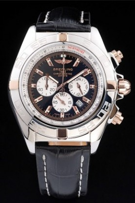 Breitling Chronomat Rose Gold Highlight Black Leather Strap Blac