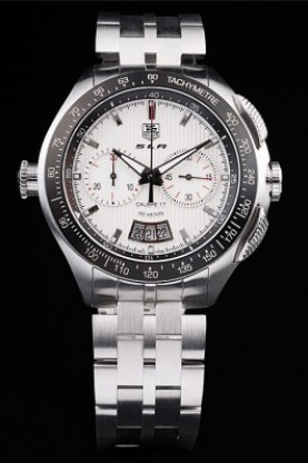 Tag Heuer Swiss SLR Tachymeter Bezel Stainless Steel White Dial