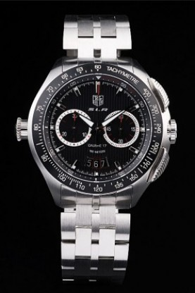 Tag Heuer Swiss SLR Tachymeter Bezel Stainless Steel Black Dial