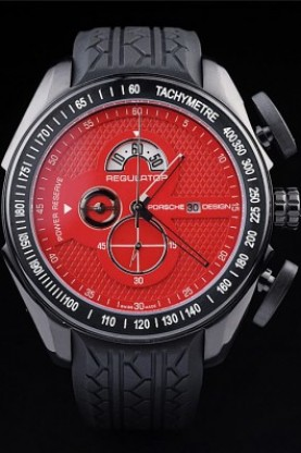 Porsche Regulator Power Reserve Black Case Red Dial (pc03)