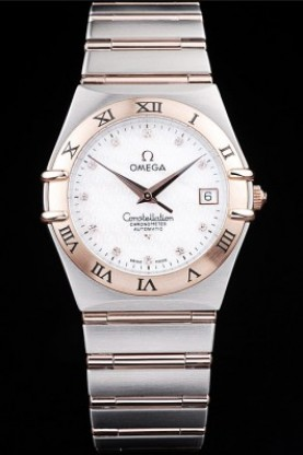 Omega Swiss Constellation Jewelry Rose Gold Case Omega Emblem Wh