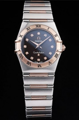Omega Swiss Constellation Jewelry Rose Gold Case Black Dial (so