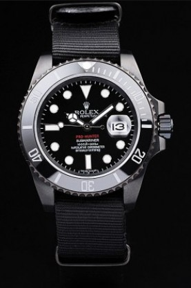 Rolex Swiss Submariner Pro-Hunter Black Fabric Strap Black Dial