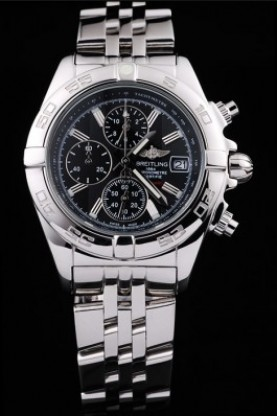 Breitling Certifie Chronograph Stainless Steel Strap Black Dial