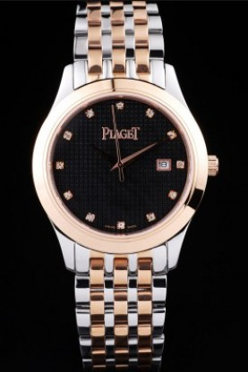 Piaget Dancer Rose Gold Case Black Checkered Dial (pg13)
