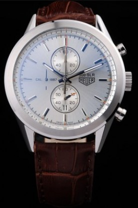 Tag Heuer SLR Brushed Stainless Steel Case Silver Dial Brown Lea