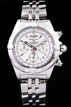 Breitling Certifie Chronograph Stainless Steel Strap White Dial