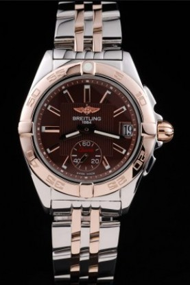 Breitling Certifie Rose Gold Bezel Brown Dial Stainless Steel St