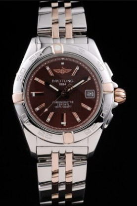 Breitling Certifie Stainless Steel Bezel Brown Dial Stainless St