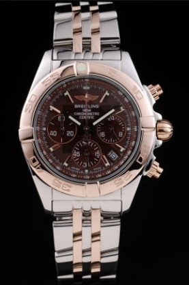 Breitling Certifie Chronograph Rose Gold Bezel Brown Dial Stainl