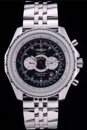Breitling Bentley Chronograph Black Dial Stainless Steel Strap (
