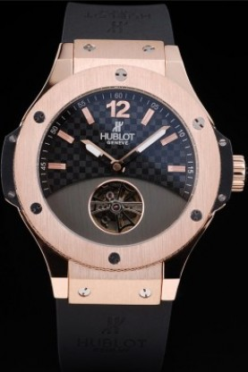 Hublot Big Bang Rose Gold Bezel Black Checkered Dial Black Rubbe